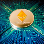 One,Ethereum,Coin,On,A,Background,Of,Blue,Circuit,Board